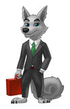 Wolf Businessman i en dräkt med en resväska vektor illustrationer