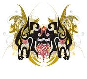 Wolf butterfly splashes with gold winged dragons Royalty Free Stock Photo