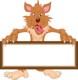 Wolf cartoon and blank sign Stock Image