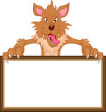 Wolf cartoon and blank sign Stock Images