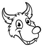 Wolf Cartoon Character Face Photo libre de droits