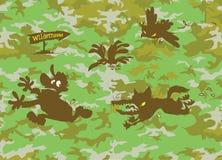 Wolf chasing Hunter. Stock Image