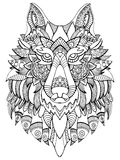 Wolf coloring book for adults vector illustration Royalty Free Stock Photos