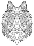Wolf coloring book for adults vector illustration Stock Photography