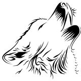 Wolf. Contour of the head wolf howling at the moon Royalty Free Stock Photo