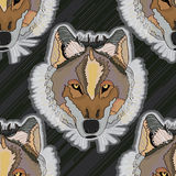 Wolf cool seamless pattern. Illustration abstract wolf dog cool seamless pattern stripe lines background Royalty Free Stock Image