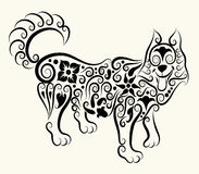Wolf decorative ornament. Mammal animal sketch with flower and curl leaf ornament decoration vector illustration