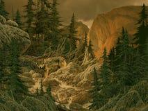Wolf in den felsigen Bergen Stockfotografie
