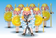 Wolf in der Kleidung des Schafs mit einer Armee Lizenzfreies Stockfoto