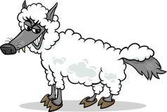 Wolf in der Schafkleidungskarikatur Lizenzfreie Stockfotografie