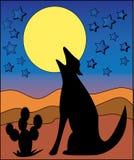 Wolf die bij de Maan huilt Stock Fotografie