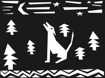 Wolf die bij de maan huilt Royalty-vrije Stock Foto's