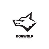 Wolf or dog head - vector logo template concept illustration. Wilde animal graphic sign. Design element Stock Photos