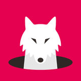 Wolf dog on the hole,watching, vector illustration Royalty Free Stock Photography