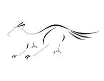 Wolf Dog Sliding aan een Halt, Gestileerd Lijnart. Royalty-vrije Stock Afbeelding