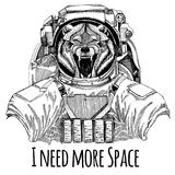 Wolf Dog Wild animal Astronaut. Space suit. Hand drawn image of lion for tattoo, t-shirt, emblem, badge, logo patch. Wolf Dog Wild animal Hand drawn illustration royalty free illustration