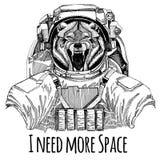 Wolf Dog Wild-Tier Astronaut Raumanzug Übergeben Sie gezogenes Bild des Löwes für Tätowierung, T-Shirt, Emblem, Ausweis, Logoflec lizenzfreie abbildung