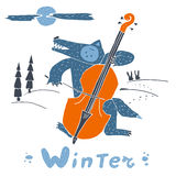 Wolf and double bass in winter night Royalty Free Stock Images