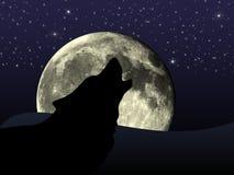 Wolf durch Vollmond Lizenzfreies Stockfoto