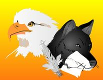 Wolf and Eagle spirits illustration. The wolf and eagle, with a feather, over the sun rising,  united together Royalty Free Stock Photos