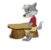 Wolf an einem Schuleschreibtisch lizenzfreie abbildung