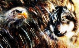 Wolf en adelaarskleur het schilderen, verenachtergrond, veelkleurige collageillustratie fractal effect Royalty-vrije Stock Fotografie