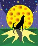 Wolf en grote maan Stock Afbeelding