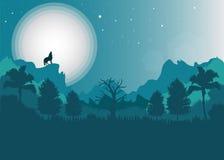 Wolf en maan en landschap Stock Afbeelding