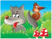 Wolf en raaf Royalty-vrije Stock Fotografie