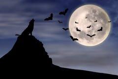 Wolf en vliegende knuppels Stock Afbeeldingen