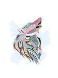 Wolf Ethnic Pattern royaltyfri illustrationer