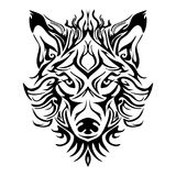 Wolf face head or wolf face design for tribal tattoo Royalty Free Stock Images
