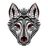 Wolf face tribal tattoo design. Wolf face tribal tattoo graphic design Stock Photo