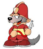 Wolf fireman Royalty Free Stock Image