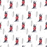 Wolf and firtrees, winter hand drawn background, watercolor seamless pattern. Wolf and firtrees, winter hand drawn background, watercolor simple seamless Royalty Free Stock Photography