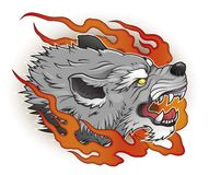 Wolf with flames. Roraring wolf head with flames vector illustration Royalty Free Stock Images