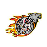 Wolf on Flaming Wheel Rim. Illustration of an angry Wolf head on Flaming Wheel Rim viewed from side on isolated background done in retro style Royalty Free Stock Photo