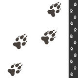 Wolf footprints. Vector illustration isolated on white. Wildlife. Design. Four wolf paws prints and sample of footsteps Royalty Free Stock Images