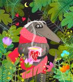 Wolf in Forest Trees Leaves in der Liebe Lizenzfreies Stockbild