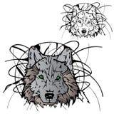 wolf för färgsilhouettestencil Fotografering för Bildbyråer