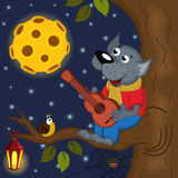 Wolf at full moon plays guitar Royalty Free Stock Photography