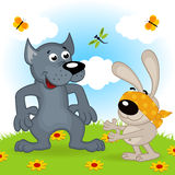 Wolf and hare playing hide and seek Royalty Free Stock Image