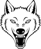 Wolf head. Illustration of black and white wolf head tattoo Stock Images