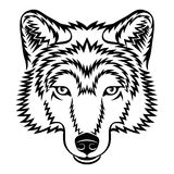 Wolf head. A Wolf head logo in black and white. This is vector illustration ideal for a mascot and tattoo or T-shirt graphic Royalty Free Stock Photography