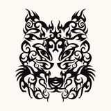 Wolf head art tattoo design tribal. Vector Wolf head art tattoo design tribal style, black wolfs head on white isolated background Royalty Free Stock Photos
