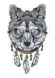 Wolf head with dream catcher. Indian totem vector illlustration Stock Photography