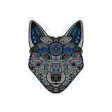 Wolf head in ethnic boho style. Hand drawn logo. Vector illustration Stock Photography