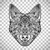 Wolf head with guata. Wolf head with hand drawn guata vector ornament, isolated on transparent background Stock Photography