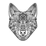 Wolf head with hand drawn ornament Stock Image