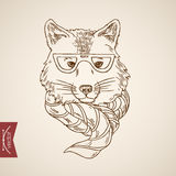 Wolf head hipster style human like engraving vintage vector Royalty Free Stock Photos